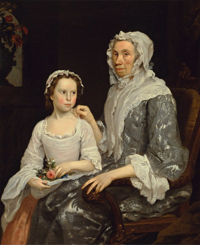 George Beare - Portrait of an Elderly Lady and a Girl (1747)