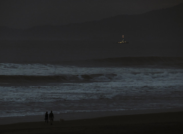 illuminated boat in the bay at dusk; San Francisco (2015)
