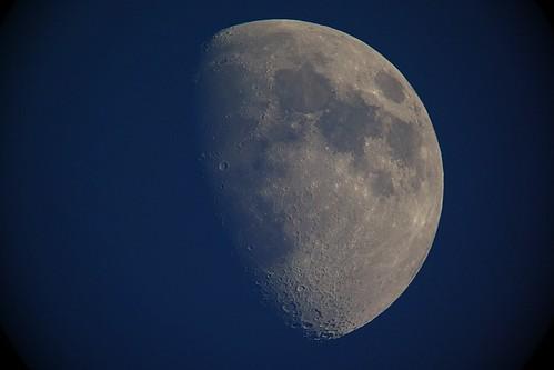 moon_6_sharpened_levels adjusted 自作天体望遠鏡にて撮影した月の写真。半月よりも少し太い。