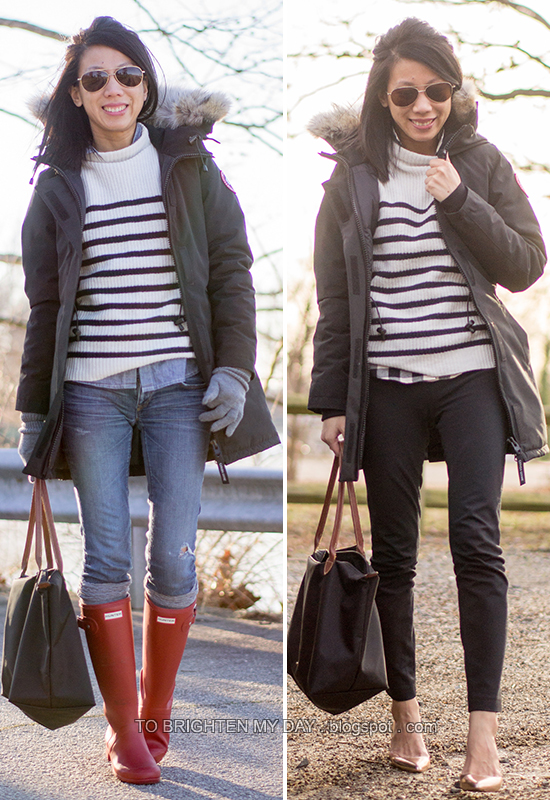 casual vs. work | black parka + striped sweater