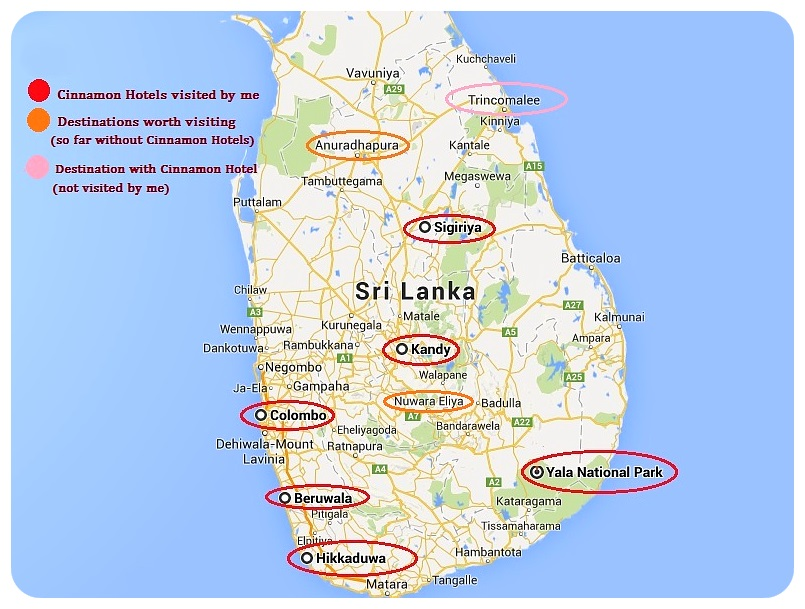 Sri Lanka Cinnamon Hotels Map