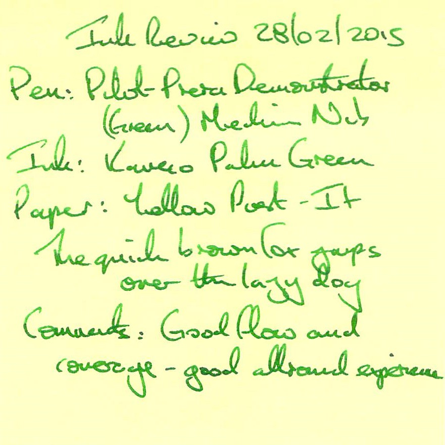 Kaweco Palm Green Ink Review - Post It
