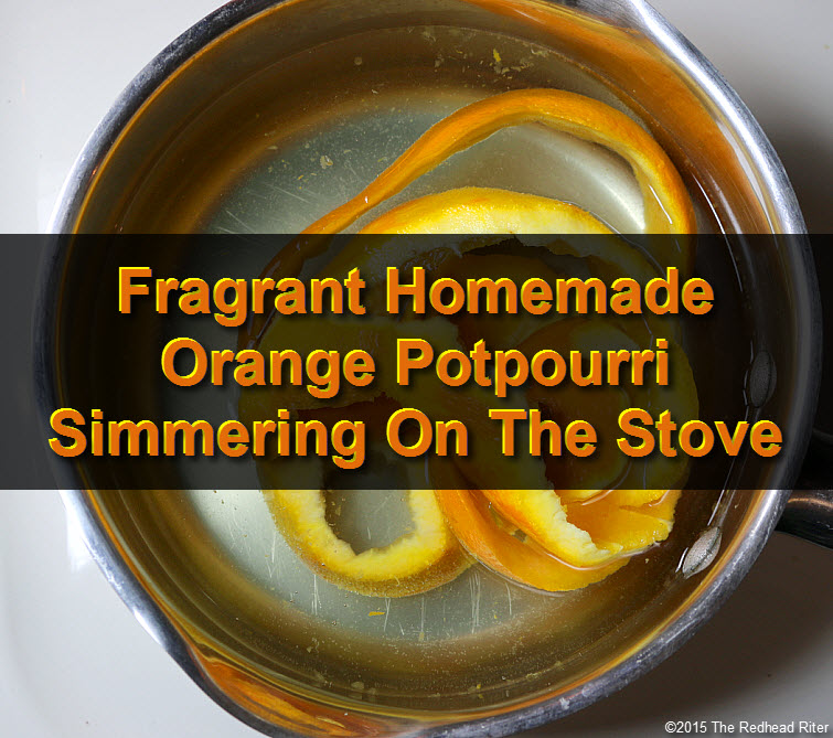 Fragrant Homemade Orange Potpourri Simmering On The Stove Top tw