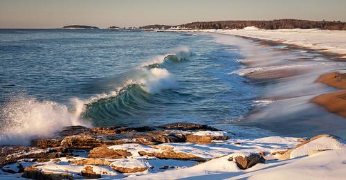 winter snow beach surf maine newengland wave georgetown reidstatepark reidstateparksunrisewintersnowgeorgetownmaine
