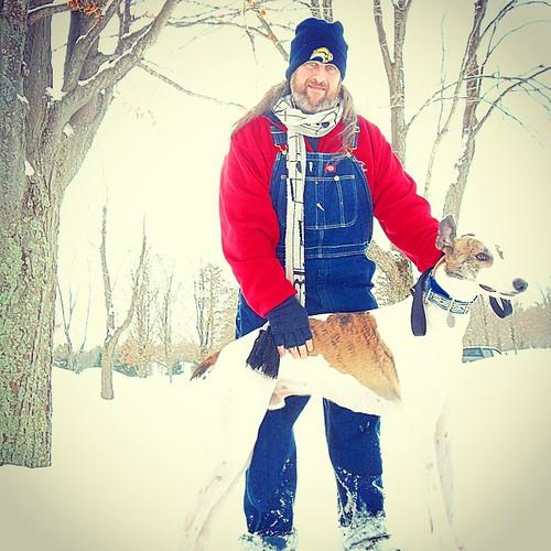Snowy walk with Cane at Sprague Brook Park. #Cane #DogsOfInstagram #overalls #Dickies #BlueDenim #SpragueBrookPark