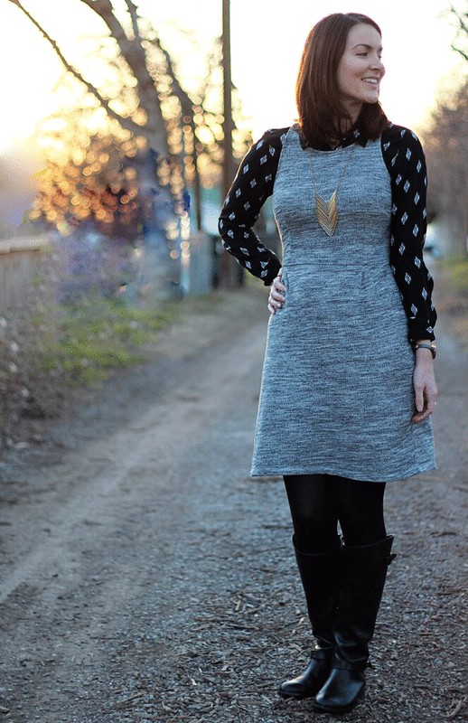 gray-dress-black-button-down-4
