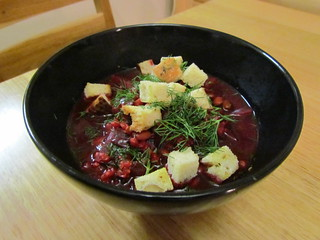 Beet, Barley, and Blackbean Soybean Soup with Pumpernickel Croutons