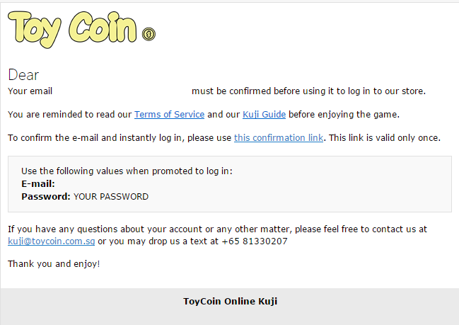 Kuji Toycoin confirmation letter