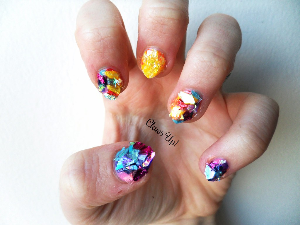 Born Pretty Store Iced Mylar Nail Art Sheets used in sun stained glass window nail art. 10% off JACG10