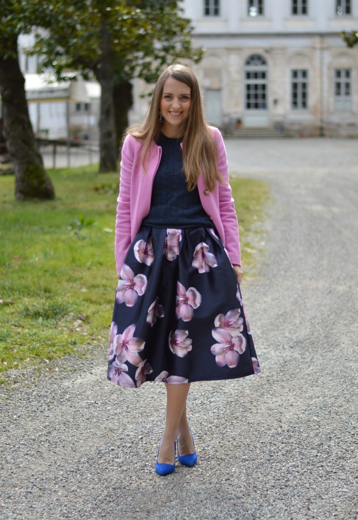 skirt, romwe, fiori, rosa, Benetton, wildflower girl, tacchi, outfit (2)