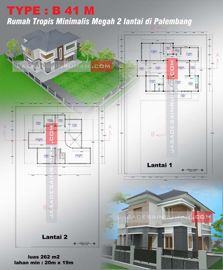Rumah Tropis Minimalis Megah 2 Lantai Di Palembang Jasa Desain Rumah