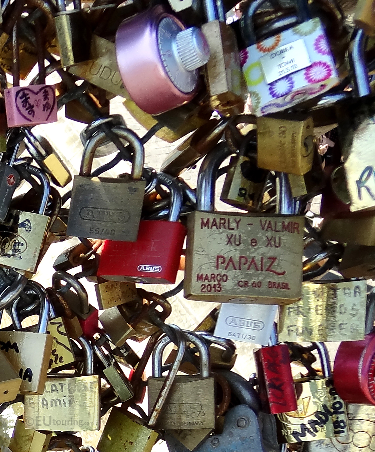 A selection of locks on the Pont des Arts