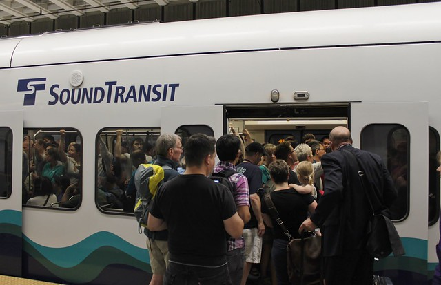 Crowded Link train at rush hour