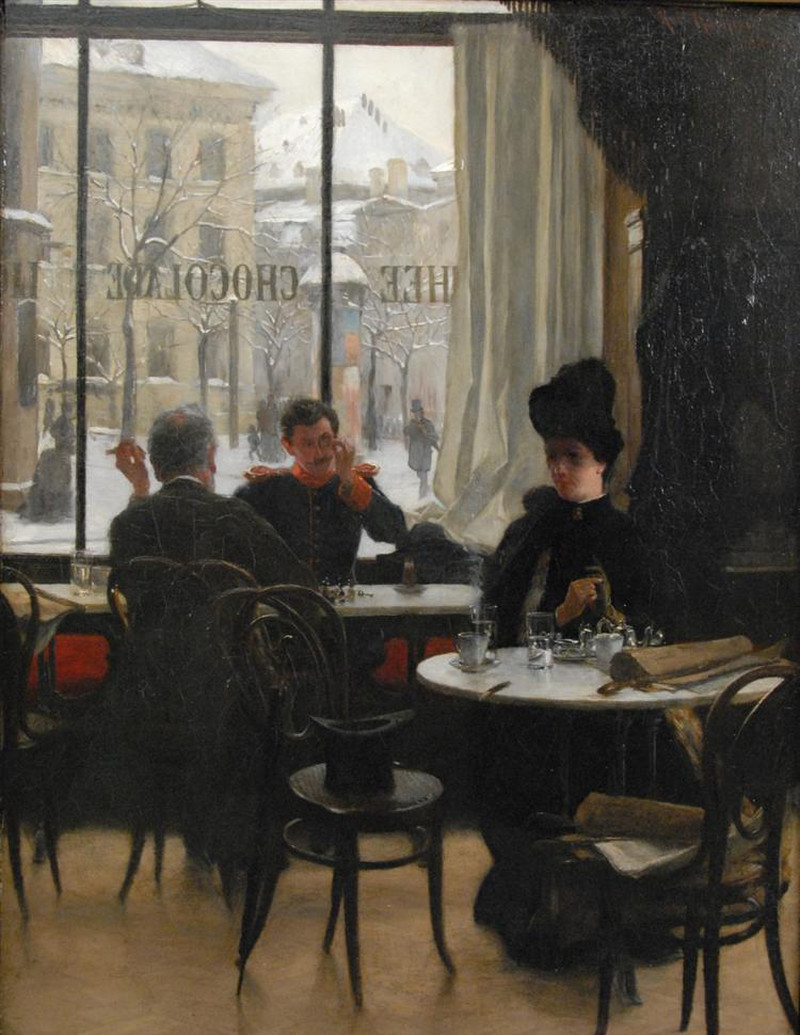 At the Cafe by Robert Koehler - circa 1887