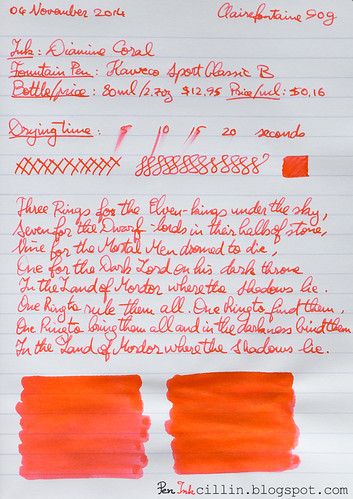 Diamine Coral on Clairefontaine