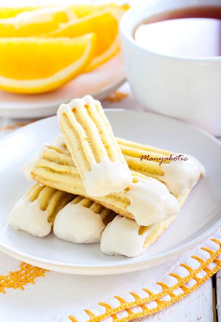 Orange finger biscuits