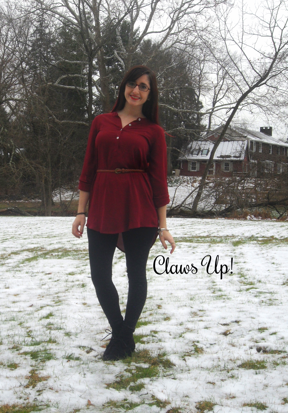 Holiday Outfit - Burgundy Tunic and Black Leggings