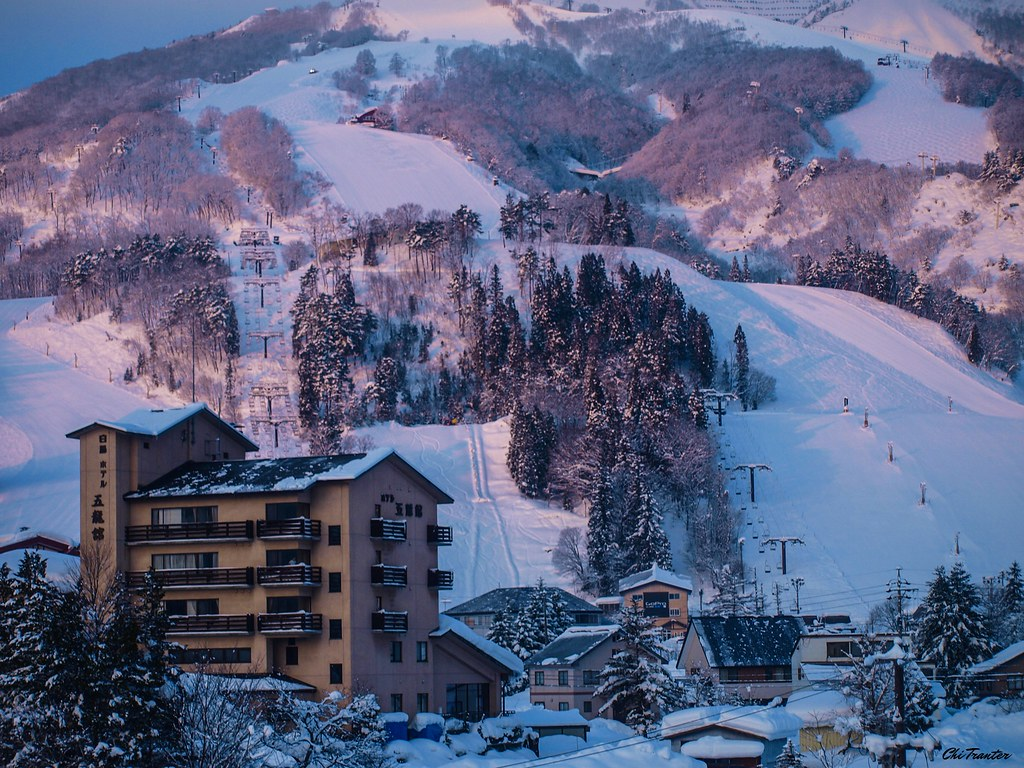 Ski resort in the evening light Hakuba Japan #Winter #Japan #Snow
