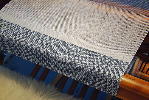 Weaving cotton Keep it Simple kitchen towels on Schacht Mighty Wolf loom