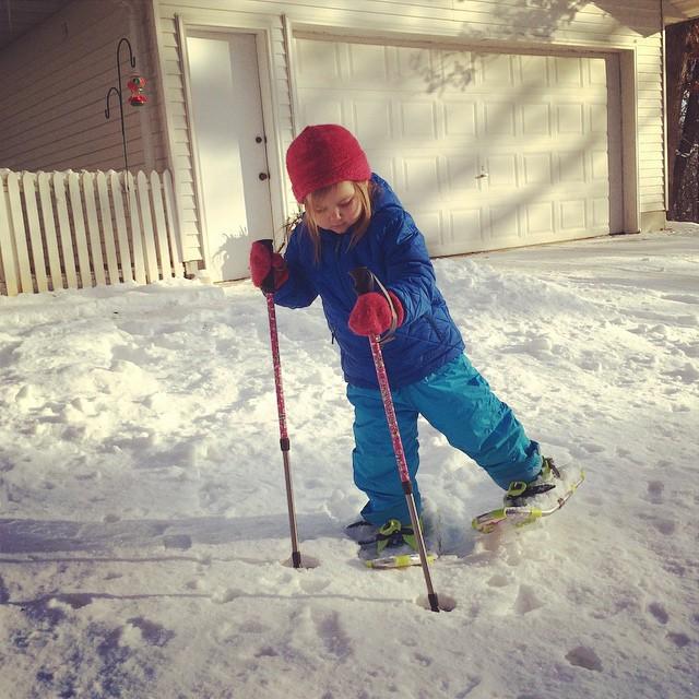 First snowshoe steps! #winterbreak2014