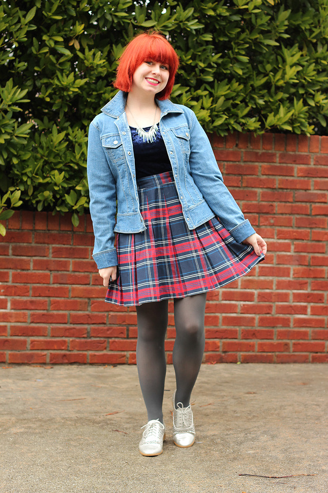 Jean Jacket, Crushed Velvet Top, Plaid Skirt, and Silver Shoes