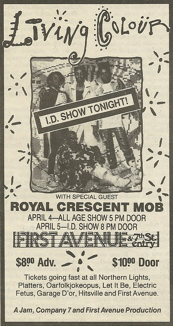 04/04 - 05/89 Living Colour/ Royal Crescent Mob @ First Avenue, Minneapolis, MN