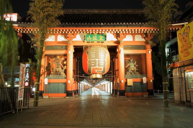 東京浅草 浅草寺の夜景