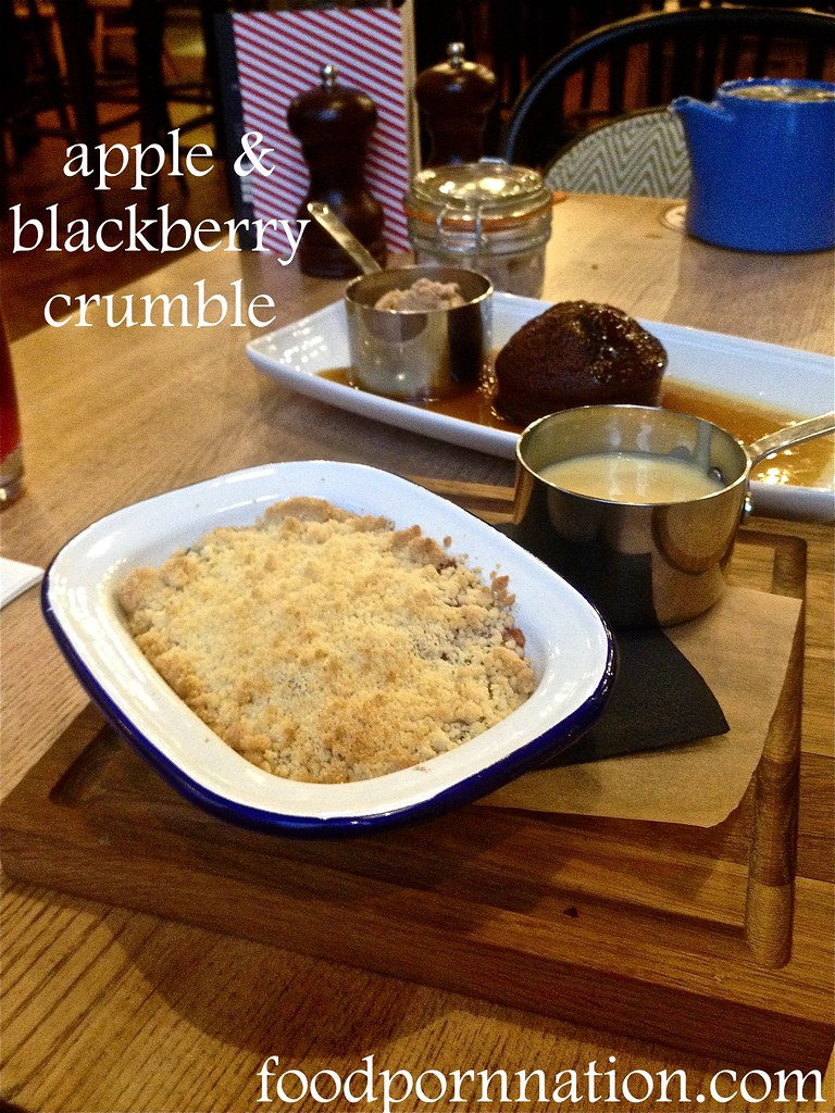 The Porchester - Apple and blackberry crumble with vanilla custard