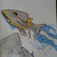 Underwater bot #marchofrobots #markers #sketchbook #art #robot
