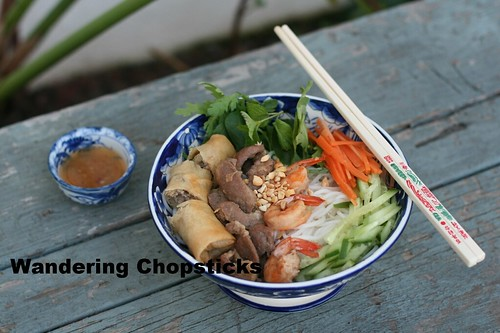 Bun Thit Heo Nuong, Tom, Cha Gio (Vietnamese Rice Vermicelli Noodles with Grilled Pork, Shrimp, and Egg Rolls) 4