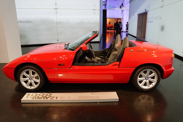 1988 bmw z1 roadster at the bmw museum in munich bavaria. Black Bedroom Furniture Sets. Home Design Ideas