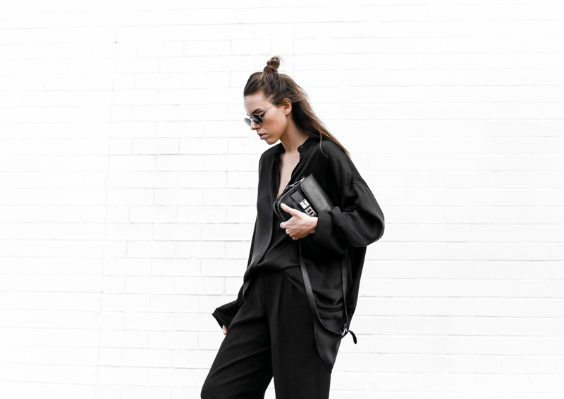 MODERN LEGACY fashion blog all black street style french effect half up hair man bun Haider Ackermann silk shirt PS11  (1 of 1)