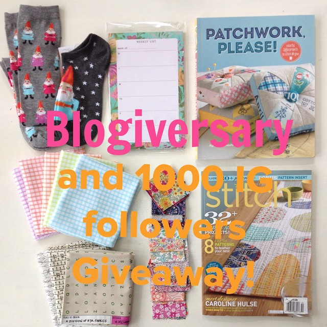 "I'm celebrating my Blogiversary and 1000 IG followers with a giveaway of all my favorite things: gnome socks, #patchworkplease, low volume/texty FQ bundle, @barij notepad, 100 liberty 2.5"" mini charms and the latest stitch magazine.  To enter leave a comm"
