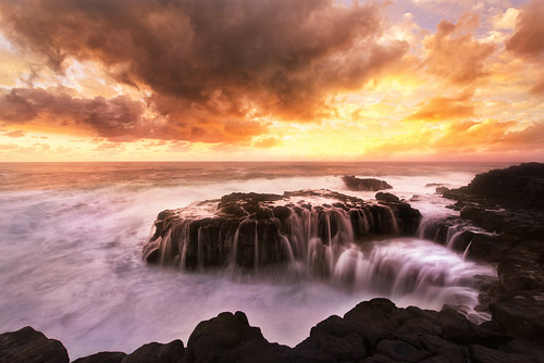 sunset hawaii coast waves
