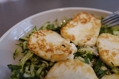 Haloumi and courgette salad