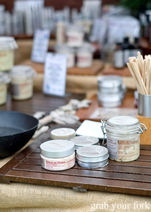 Salt scrubs and body cremes by Remedica at Brewery Yard Markets