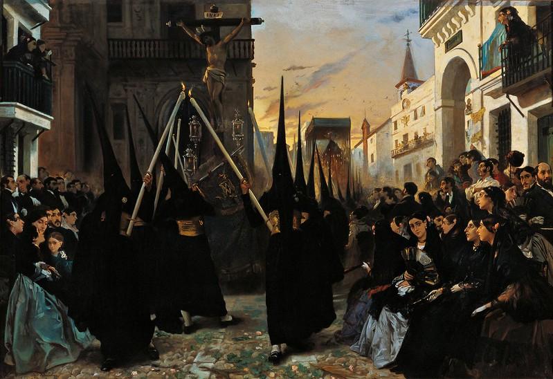 Alfred Dehodencq - A Confraternity in Procession along Calle Geneva, Sevilla (1851)