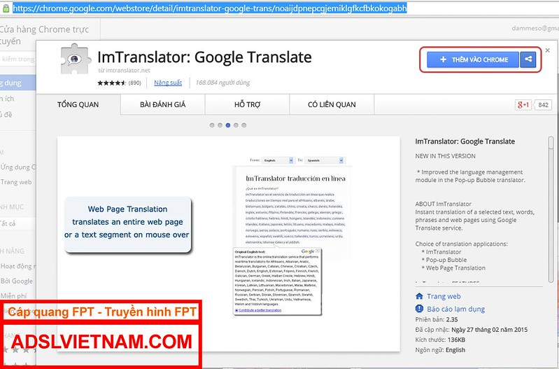 Add Intranslator vào chrome