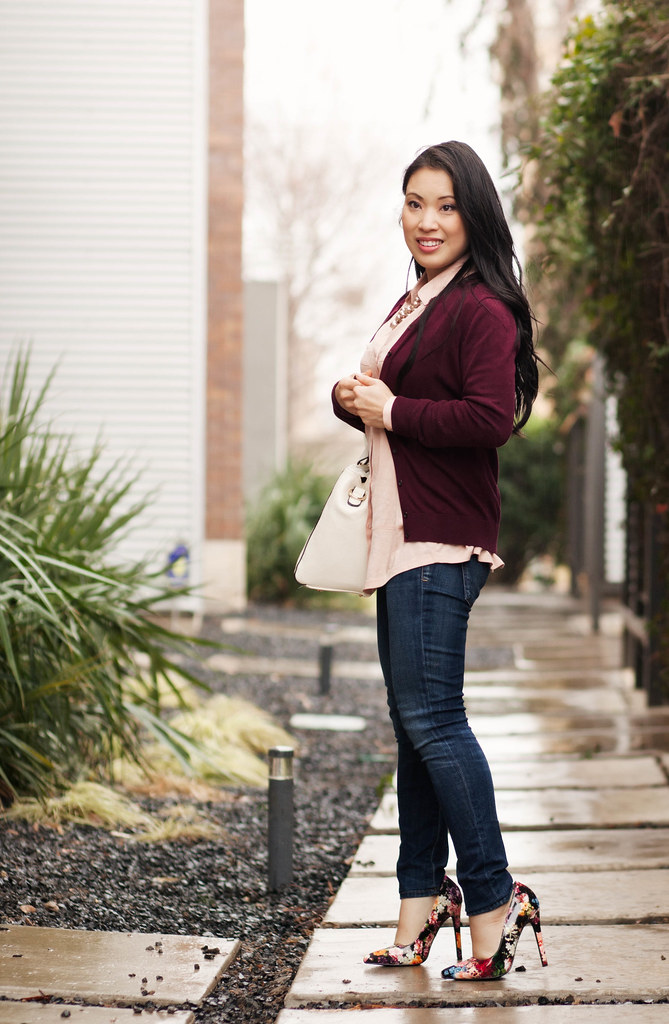 https://cuteandlittle.com | petite fashion blog | burgundy cardigan, pink utility shirt, shoedazzle madison floral pumps outfit