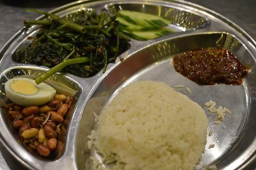 Nasi Lemak with Sambal Kangkong