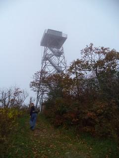 David entering Frying Pan Mountain Lookout Tower