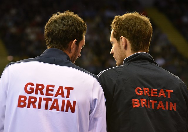 Great Britain's Andy Murray and James Ward, courtside at the Glasgow Arena..