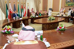 U.S. Secretary of State John Kerry sits with Foreign Minister Saud al-Faisal of Saudi Arabia and fellow members of the regional Gulf Cooperation Council before a meeting in Riyadh, Saudi Arabia, on March 5, 2015. [State Department photo/ Public Domain]
