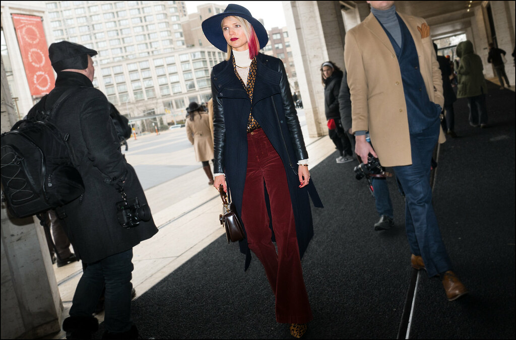 FW2-15 44w 2 tone hair black overcoat with leather sleeves rust pants leopard print boots black fedora