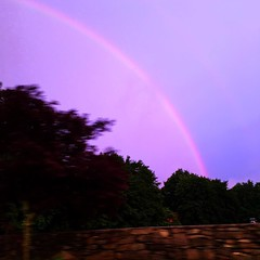 One more drive by #rainbow as the sun sets #sunset