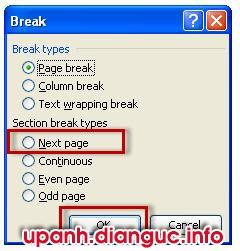 Cách ngắt trang ngắt đoạn trong word 2007 2010 2013 2003 - Page Section Break