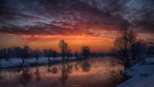 city sky reflection tree nature clouds sunrise canon river landscape town europe place croatia down hdr daybreak hrvatska karlovac korana