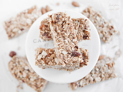 Spelt granola bars with almond,hazelnuts and apric…