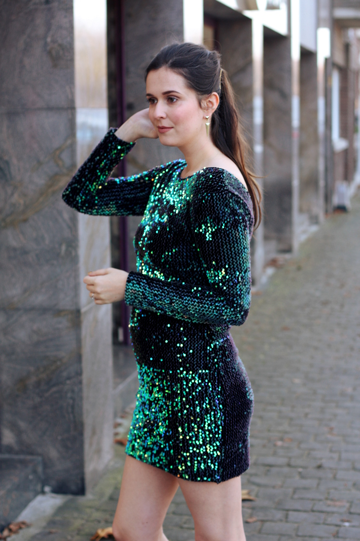 green sequined long sleeve mini dress