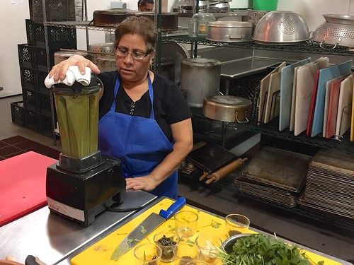 Blending the mole verde